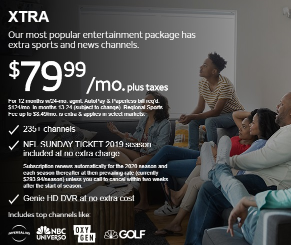 DIRECTV TV PACKAGES XTRA Offered by Sun Comm Technologies Inc 505-424-7223